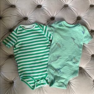 Green onesies - stripes and dinosaurs (6-9 months)